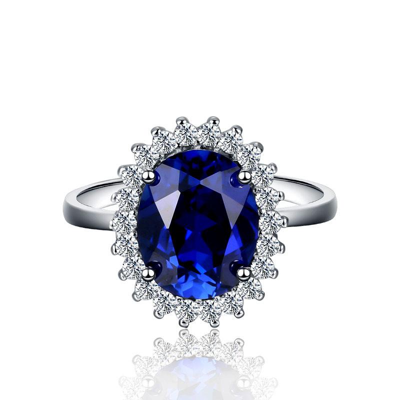 戴妃款蓝宝石戒指女正品纯银防过敏活口经典深蓝色彩宝首饰坦桑石