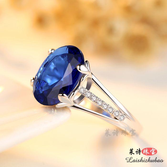 蓝宝石戒指女日韩彩色宝石指环纯银镀18k金珠宝首饰品坦桑石