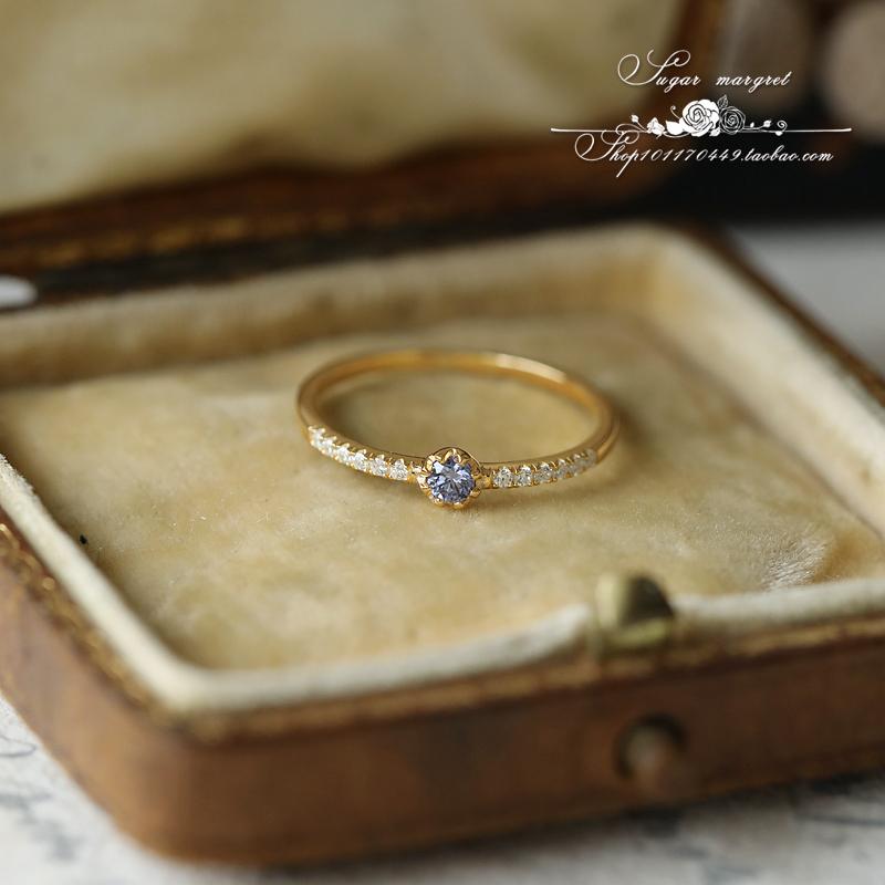 鸢尾 包邮日系轻奢精致超闪 梦幻蓝紫坦桑色锆石 925纯银镀金戒指