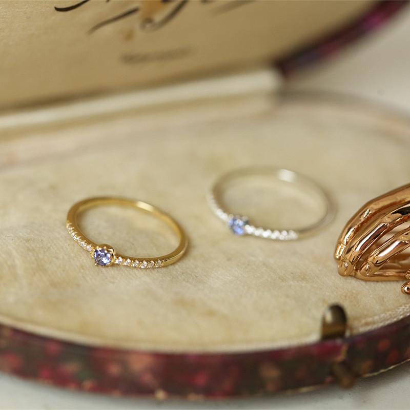 十四 行诗 日系轻奢精致 s925纯银镀金戒指 女 蓝紫色坦桑色锆石