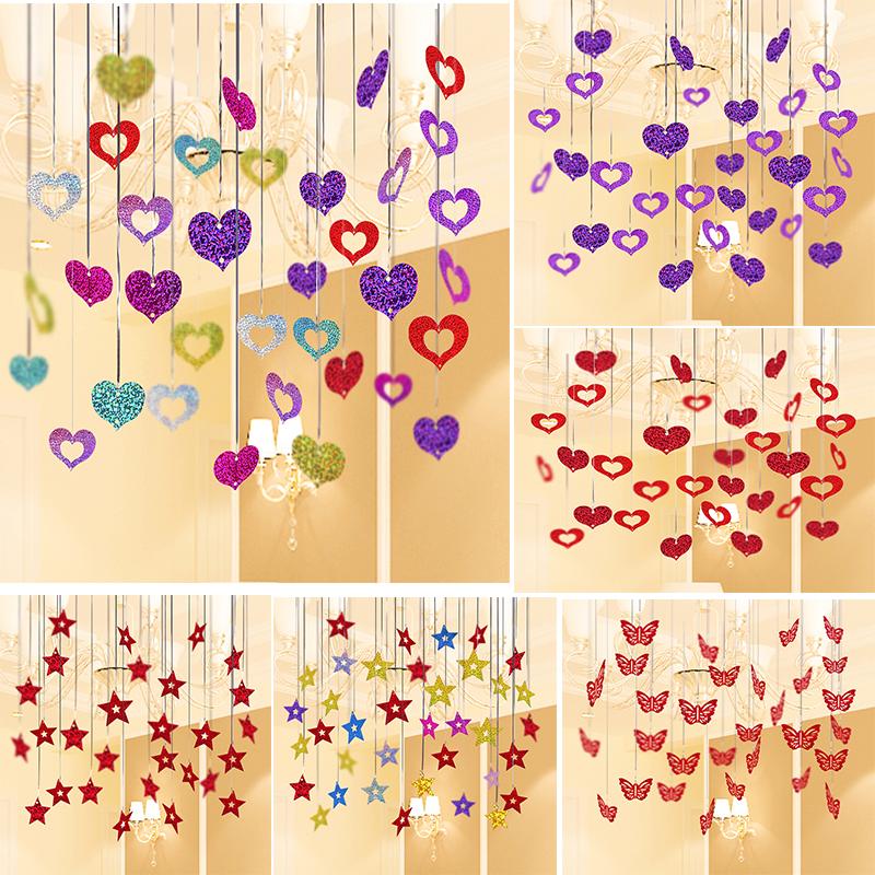气球爱心五角星吊坠婚房装饰品布置浪漫雨丝吊坠结婚婚庆亮片配件