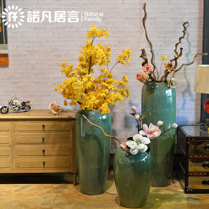 欧式陶瓷落地高大花瓶简约花盆搭配釉窑变客厅干花插花装饰品摆件