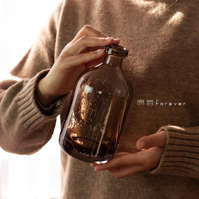 复古透明玻璃花瓶家居干花插花搭配摆件高档烟灰色气泡瓶子装饰品