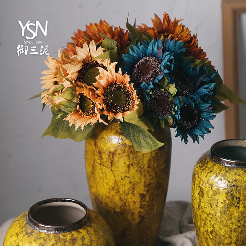 御三泥仿真葵花向日葵台面花瓶搭配假花绢花复古把束干花插花装饰