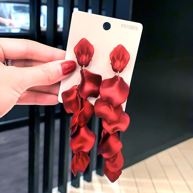 性感玫瑰花瓣耳环女s925银针长款流苏耳坠网红个性时尚气质女神范
