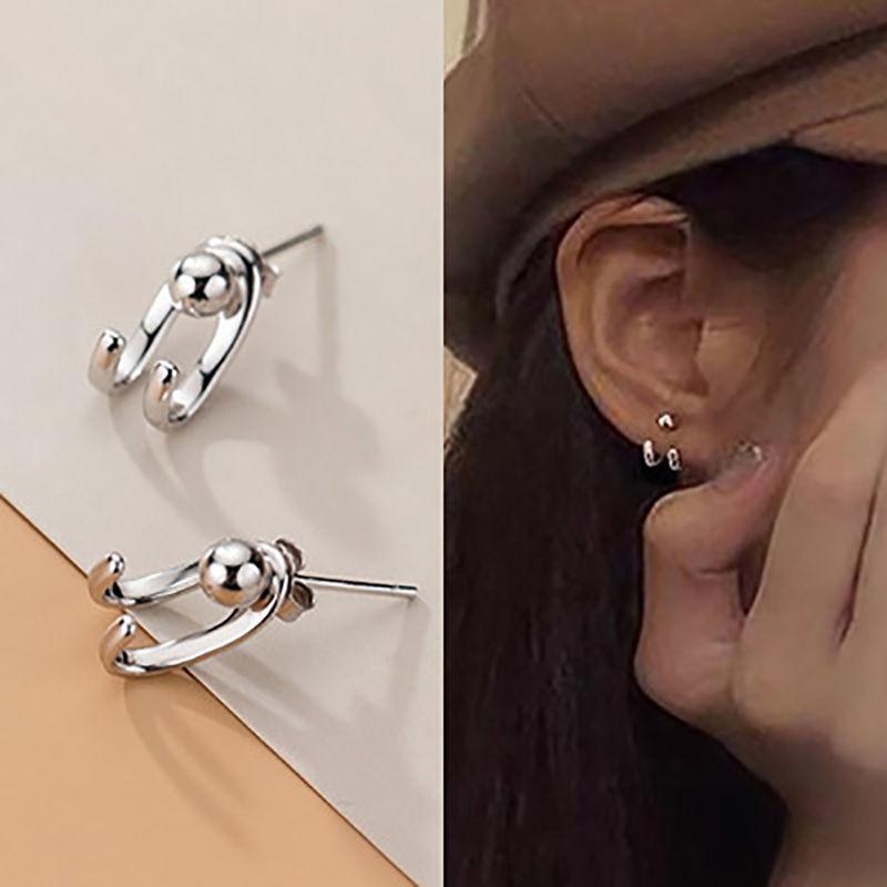 925银针耳钉女日韩时尚双线光珠耳环个性后挂式C形网红港风耳饰潮