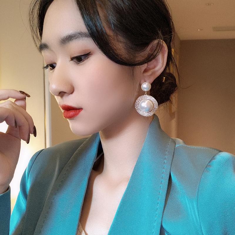 新款韩国东大同款高级感s925银针珍珠夸张耳钉时尚气质个性耳环女