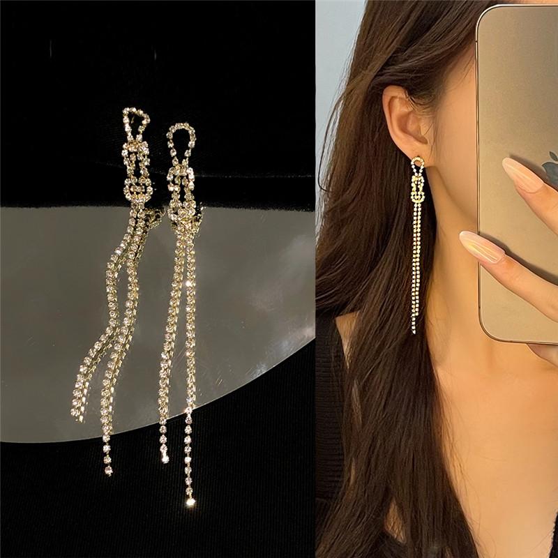 S925银针超仙长款显脸瘦的流苏耳环2021年新款潮宝石链耳钉耳夹女