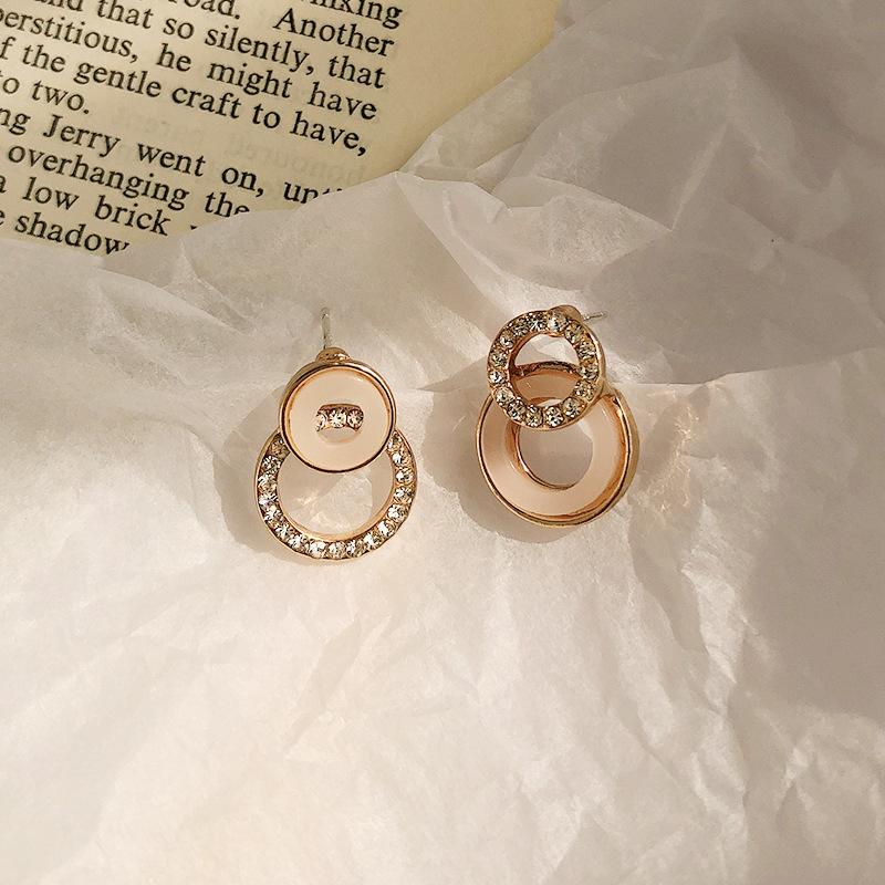 925银针养耳洞耳钉 新款微镶钻轻奢气质圆圈耳饰防过敏圆形耳环女