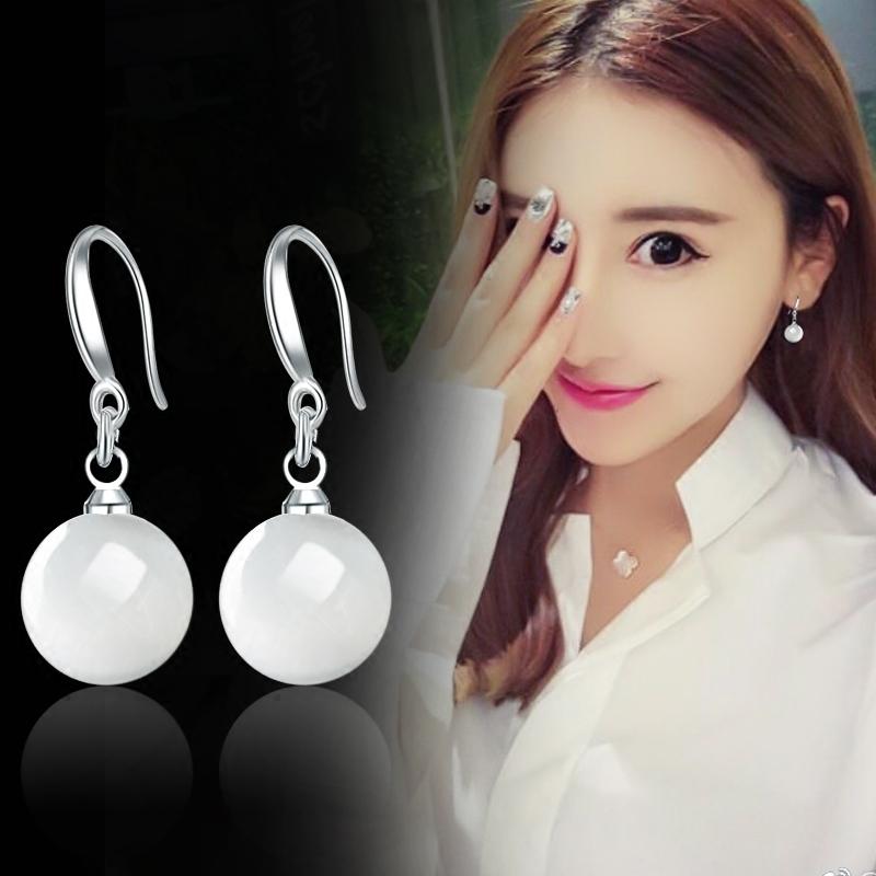 S925纯银珍珠耳环女气质韩国个性珍珠耳坠长款防过敏简约饰品耳钉