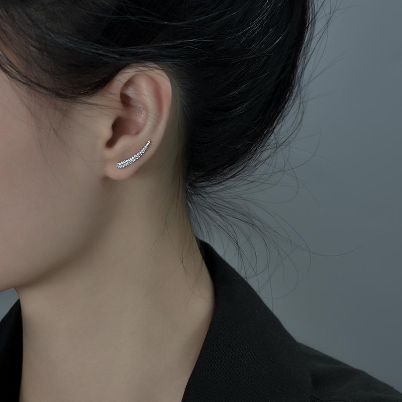 纯银耳钉女夏长款U形气质冷淡风2021年新款潮ins小众设计耳环耳饰