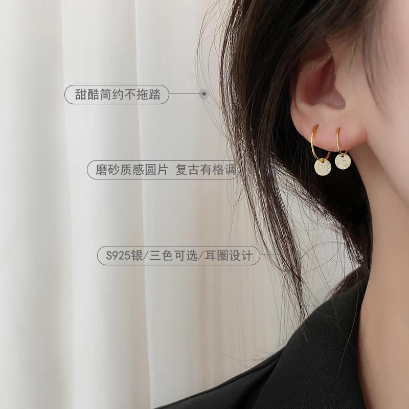 纯14k金耳扣耳圈小耳垂适合的耳环2021新款潮耳钉女纯银耳饰女