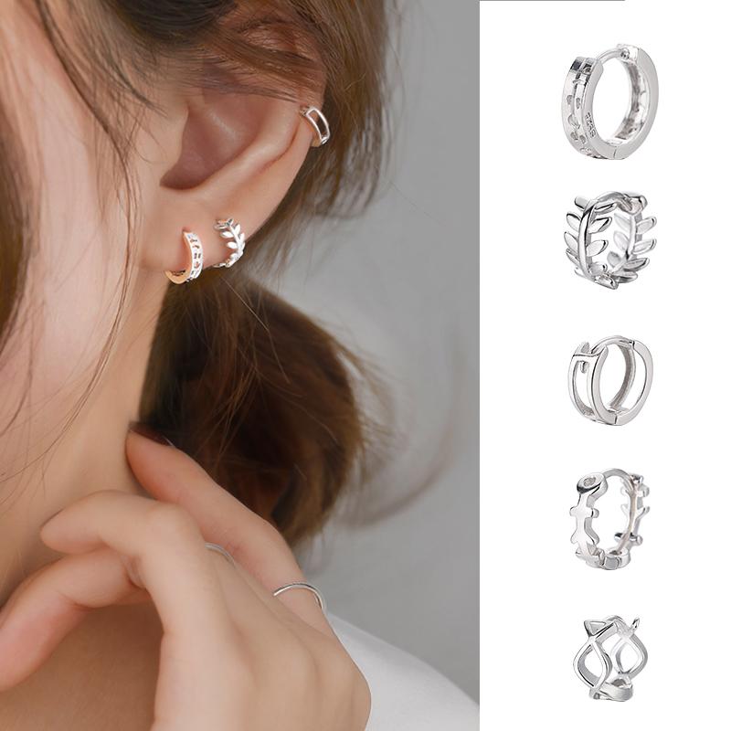耳扣女纯银耳扣睡觉免摘纯银耳扣式耳环圆圈款圆环耳圈女气质韩国