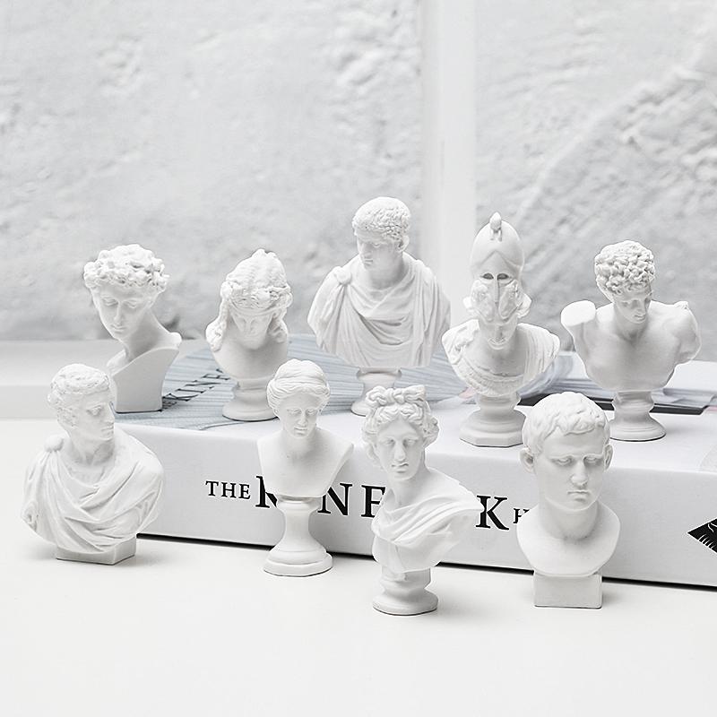 北欧文艺人物头像石膏小摆件创意ins迷你大卫维纳斯雕塑桌面装饰