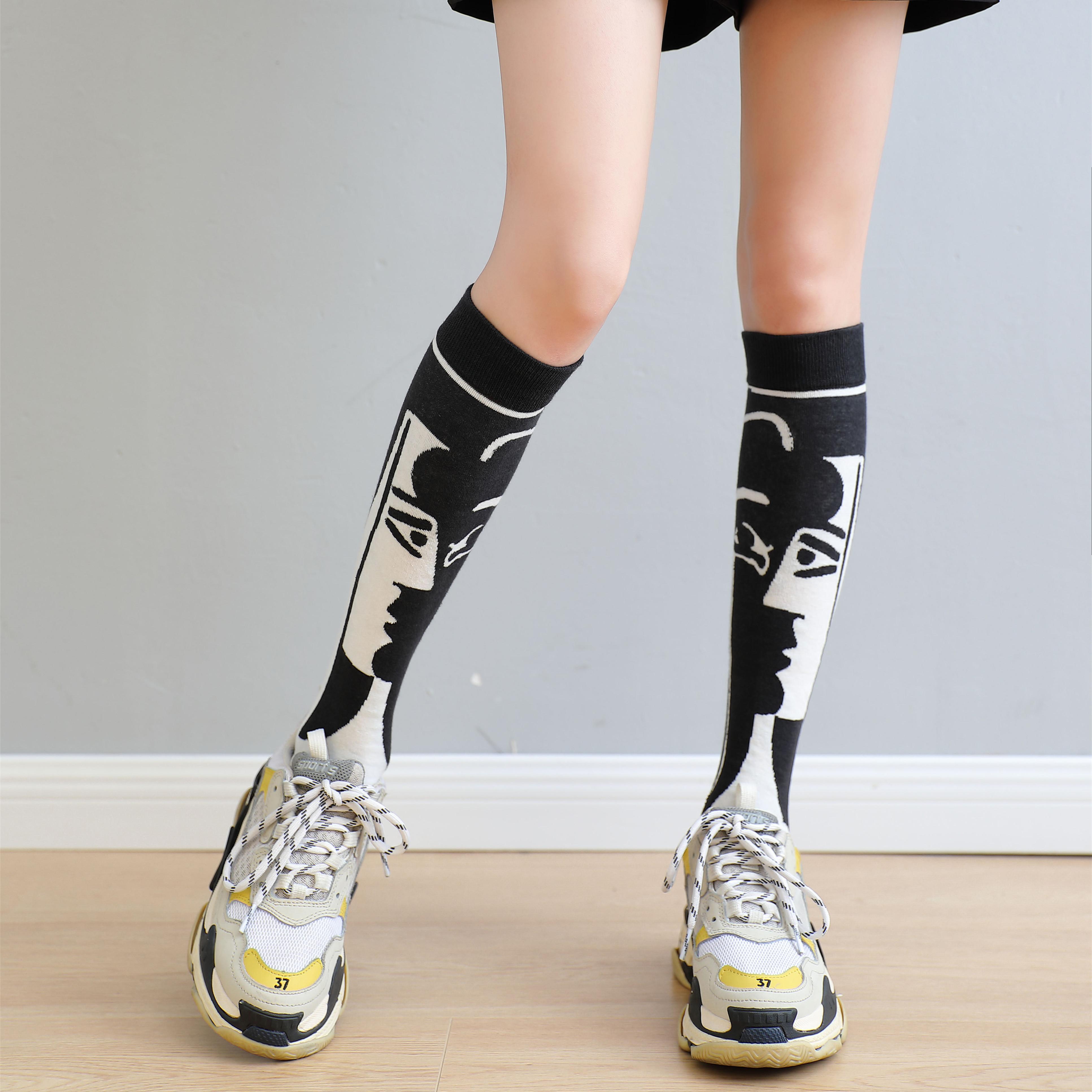 春款女士中筒袜头像图案个性ins潮袜日系长筒袜及膝袜秋冬小腿袜
