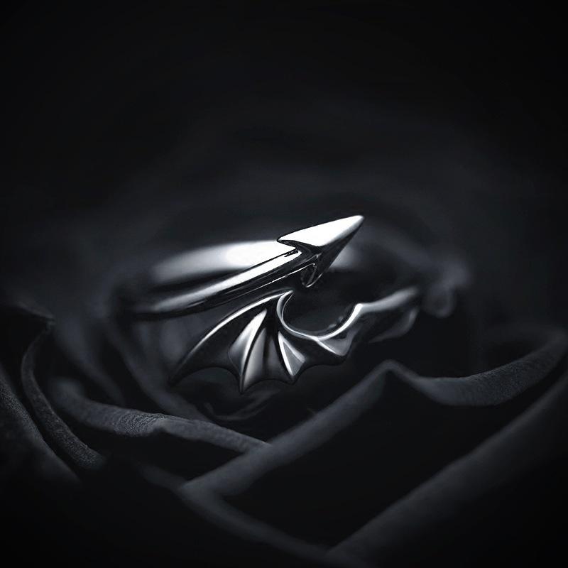 925纯银天使恶魔戒指日韩版简约霸气潮男指环个性学生情侣对戒女
