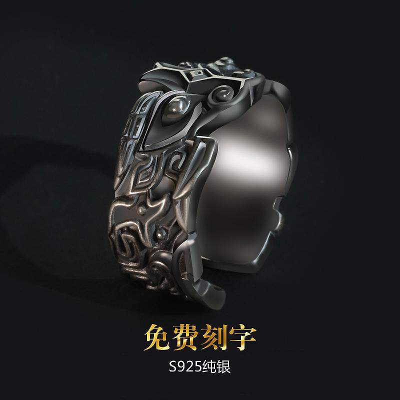 蒙客纯银男士兽面纹复古戒指男个性潮男霸气食指潮人情侣开口指环