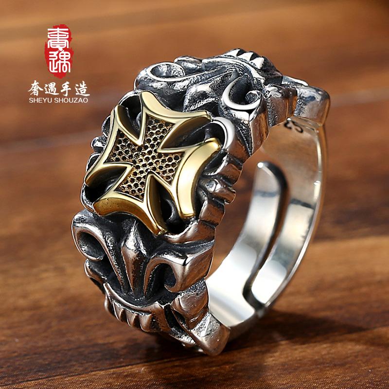 LRER/奢遇纯银戒指男个性时尚复古潮男船锚 十字活口可调节可刻字