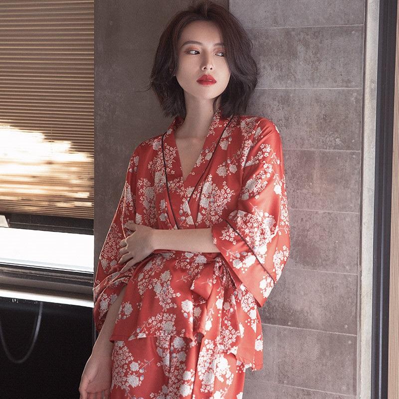 众所周知的偏爱~Home Daily! 夏季睡衣女冰丝薄款长袖睡袍式套装