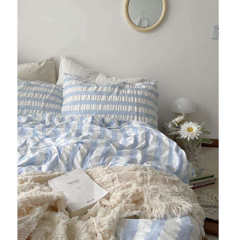 众所周知,月亮是奶酪做的/日本奶蓝肌理泡泡水洗全棉床单四件套
