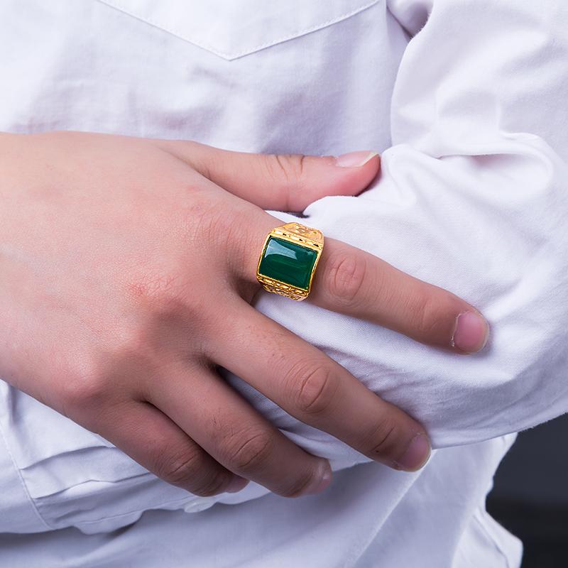 越南沙金戒指男士仿真黄金久不掉色个性霸气开口六字真言欧币对戒