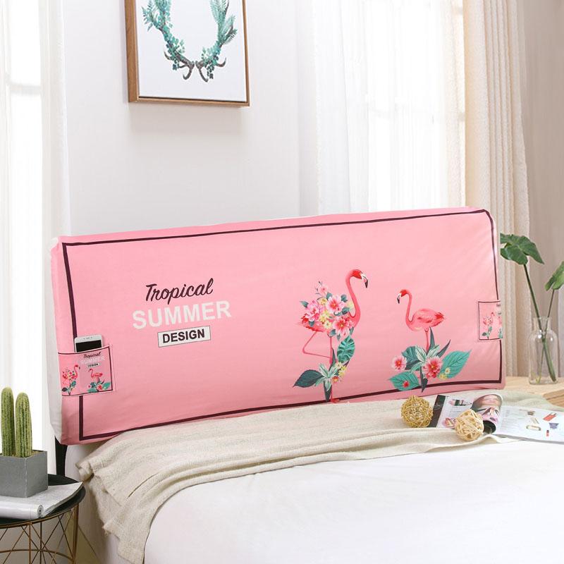 简约布艺全包水晶绒弹力床头罩卡通皮床实木床床头套防尘保护罩