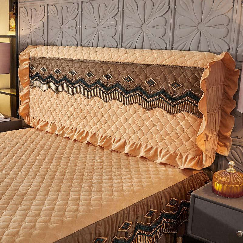 欧式全包水晶绒床头罩蕾丝软包皮床头套实木弹力床头防尘罩保护套