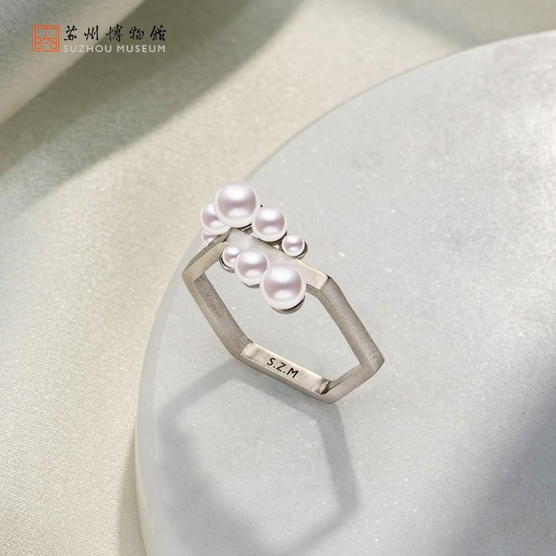 苏州博物馆 六角花窗珍珠镀金长项链时尚六角花窗戒指女生日礼物