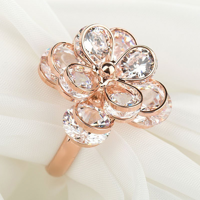 曼休妮花朵食指戒指韩国时尚夸张超闪水钻情侣闺蜜指环对戒饰品女