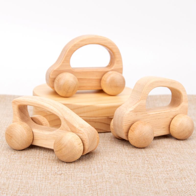 精品婴幼儿原木宝宝小车实木优质儿童益智玩具积木手推车环保安全