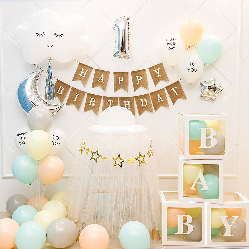 宝宝周岁生日装饰布置创意场景背景墙女孩网红ins粉色主题派对