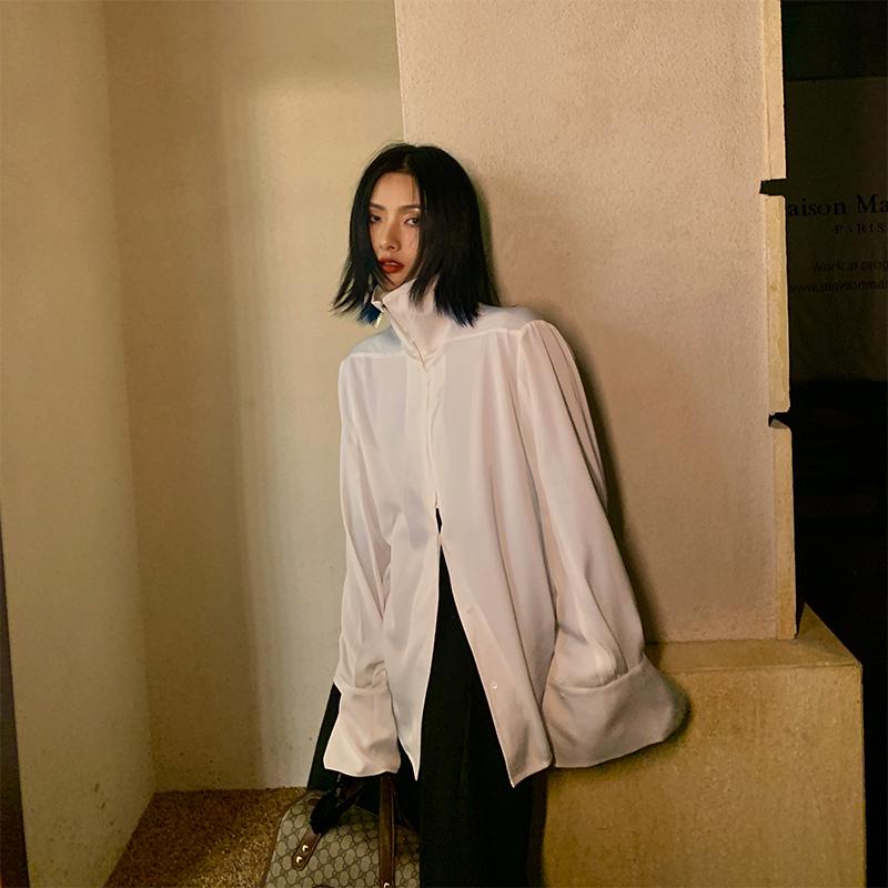 JCCC影子慵懒风薄白衬衫女春秋中长款宽松百搭上衣设计感小众衬衣