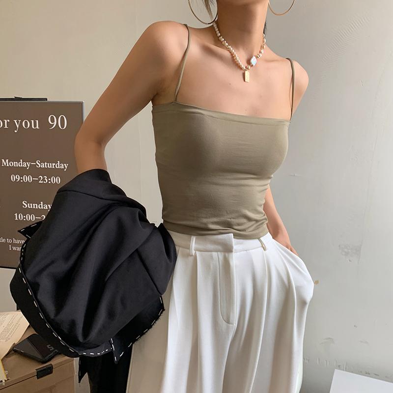 JCCC影子 纯色吊带背心女夏季带胸垫外穿上衣无钢圈细带打底抹胸