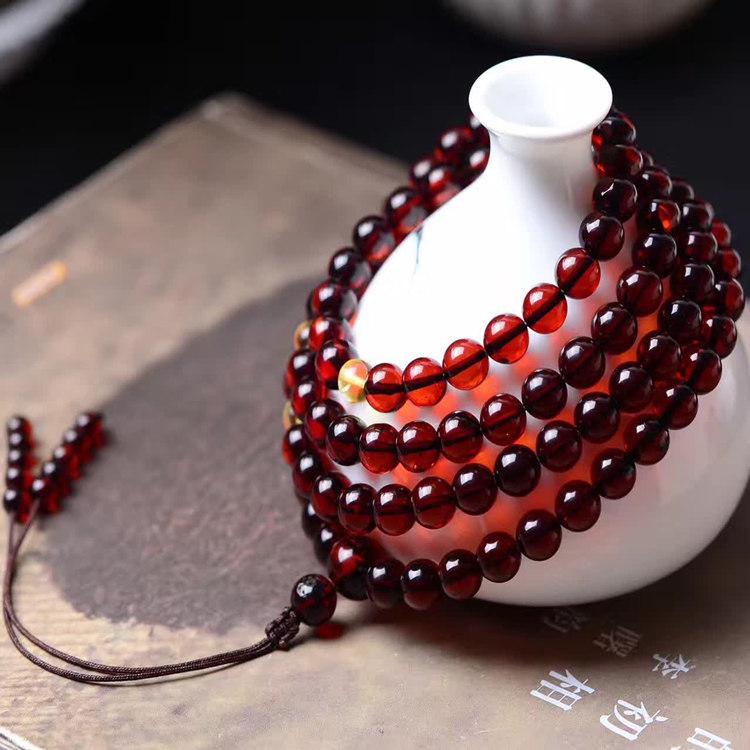 天然缅甸血珀手链108颗佛珠原矿蜜蜡琥珀原石项链男女款手串酒红