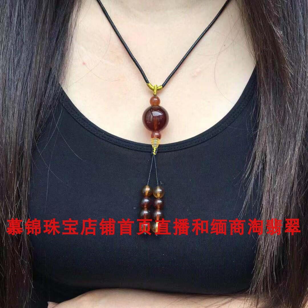 缅甸天然琥珀棕红色女款精美吊坠项链天然无优化珠宝琥珀直播