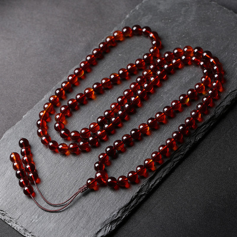 精选缅甸血丝珀108颗蜜蜡佛珠 多圈男女款圆珠手链琥珀项链天然
