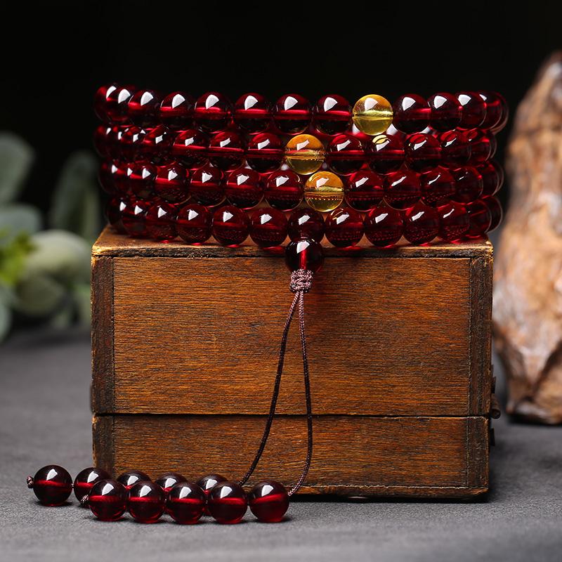 精选缅甸血珀108颗佛珠 蜜蜡手串男女款琥珀多圈手饰项链净水念珠
