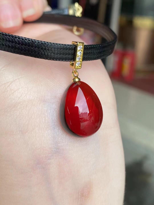 慕锦珠宝女款血珀锁骨链项链吊坠水滴缅甸天然无优化琥珀新款女士
