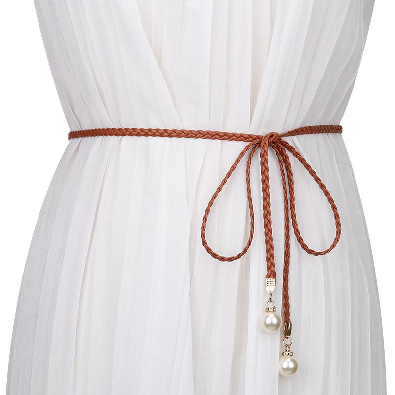 编织腰带女士装饰珍珠小皮绳简约腰绳百搭配连衣裙子腰链时尚裙带