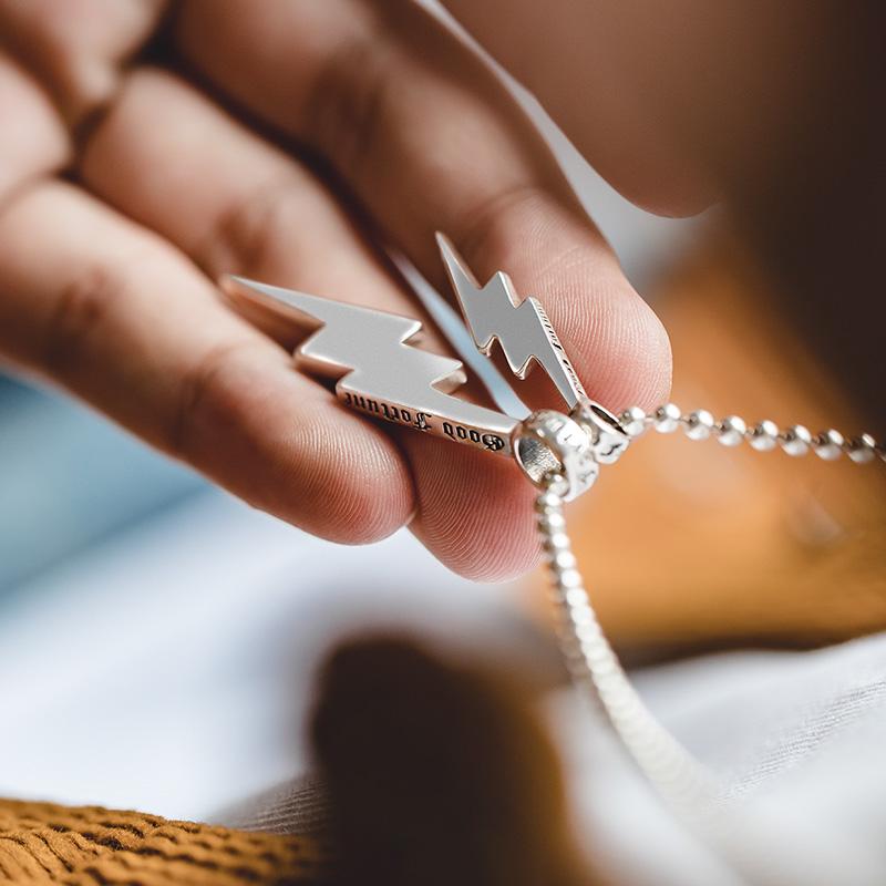 马登工装 复古二战飞机小闪电925纯银吊坠毛衣项链挂坠男女牛皮绳