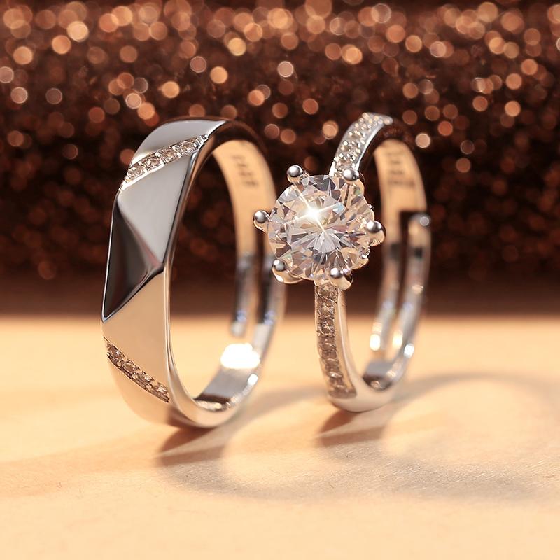 结婚对戒仿真一对婚礼现场用戒指男女开口可调节求婚假钻戒情侣款