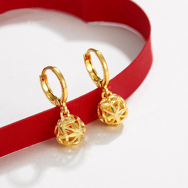 【限时促销】专柜同款黄金999新款时尚转运珠耳环流行耳钉女