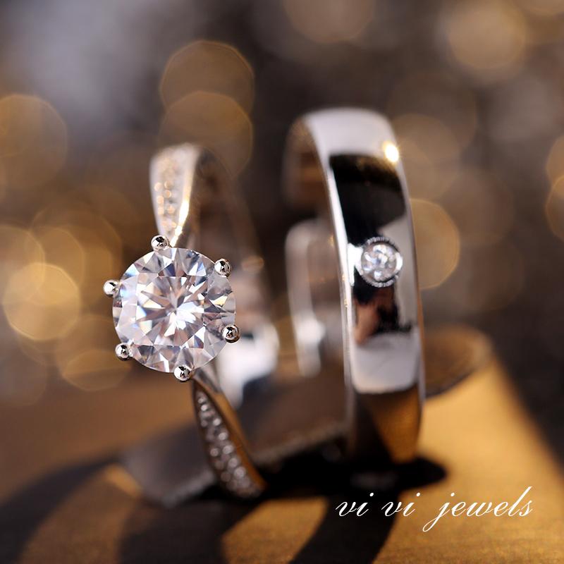一克拉六爪仿真钻戒情侣结婚对戒简约活口戒指婚礼仪式用的假道具