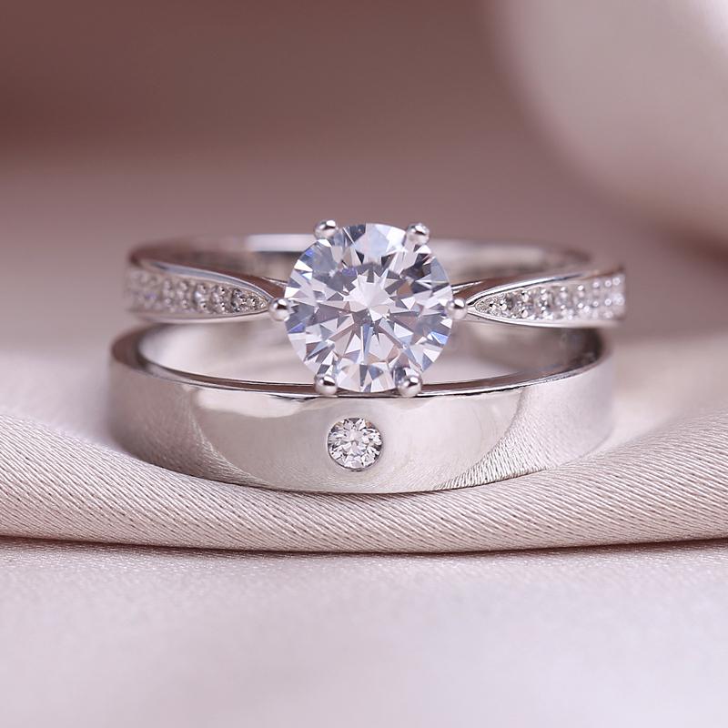 仿真钻戒情侣结婚对戒婚礼仪式用的假道具一克拉六爪简约活口戒指