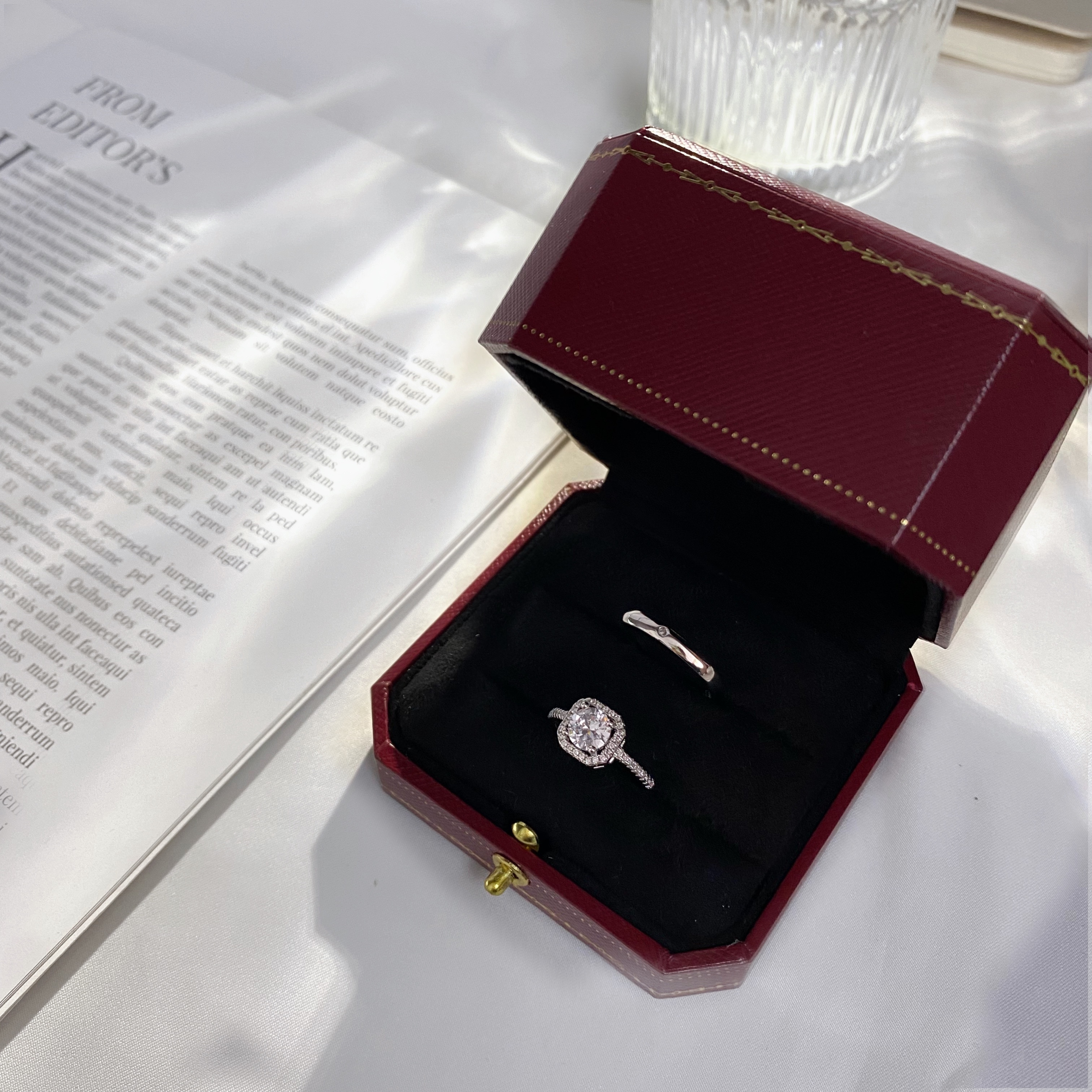 小红书同款结婚婚礼假对戒情侣方形钻戒戒指道具活口可调节婚戒