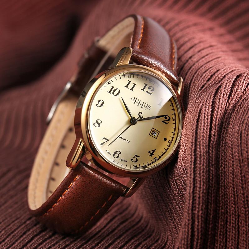 正品聚利时复古女表简约数字日历休闲手表女时尚潮流防水学生腕表