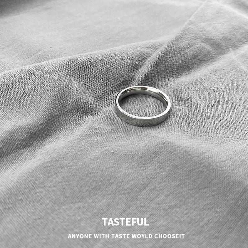 戒指男女小众设计ins潮冷淡风尾戒简约钛钢轻奢素圈指环情侣对戒