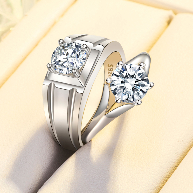 情侣戒指一对银男女款开口对戒仿真钻求婚生日礼物送女友网红饰品