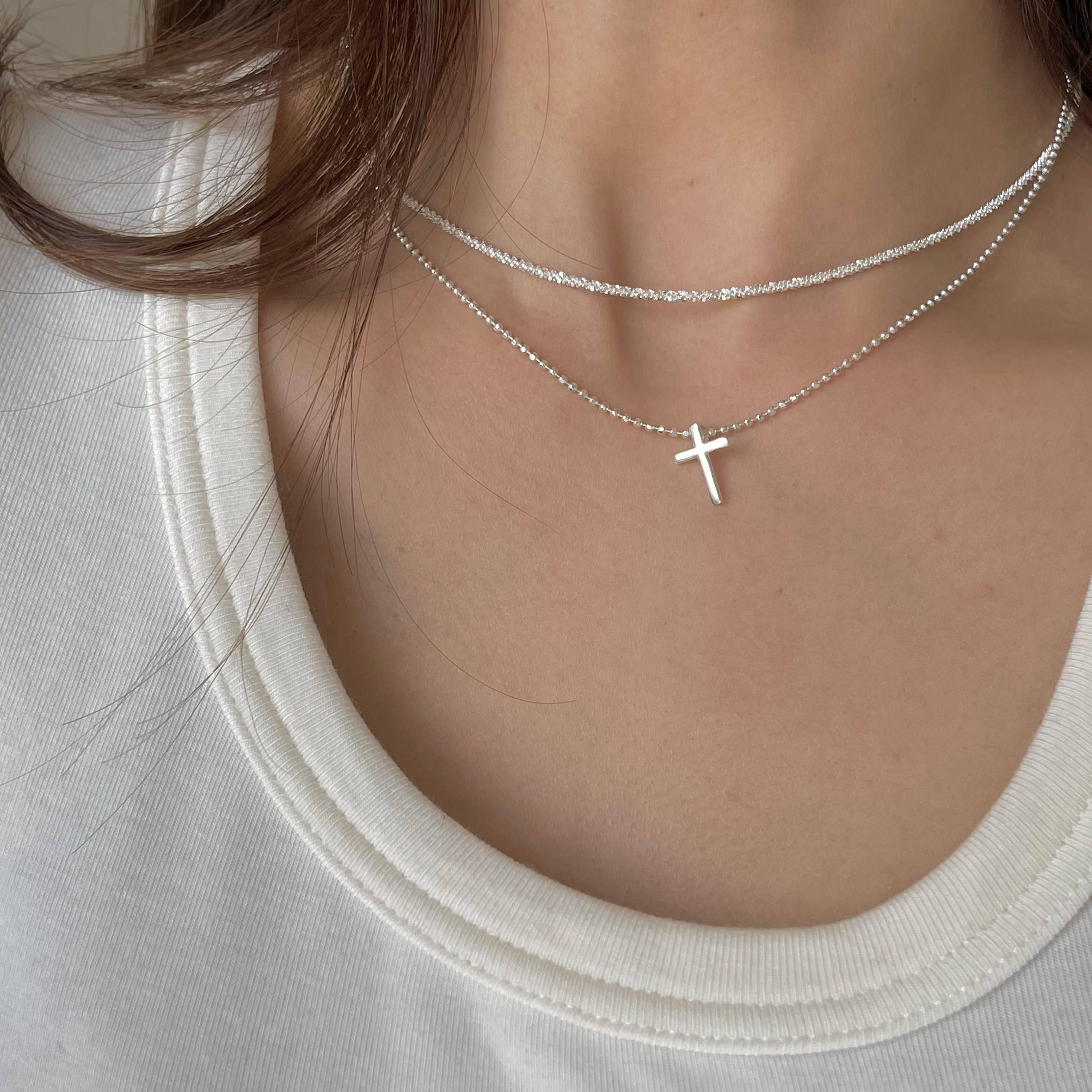 馨子同款 超闪波光粼粼切面珠十字架纯银项链小众设计感锁骨链女