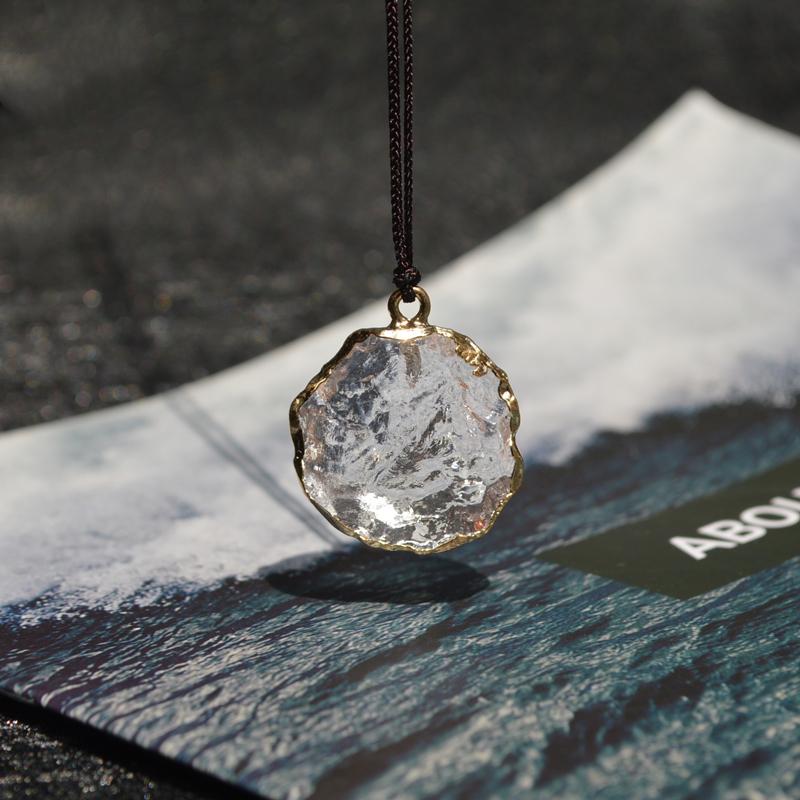 小冰块  有点酷酷的感觉   情侣款   仿白水晶原石玻璃不规则项链